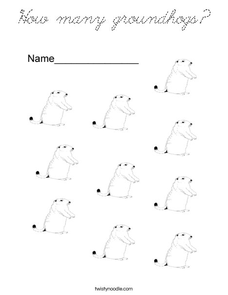 How many groundhogs? Coloring Page