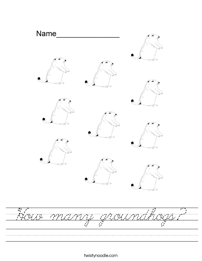 How many groundhogs? Worksheet
