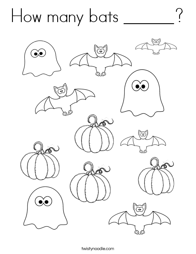 How many bats ______? Coloring Page
