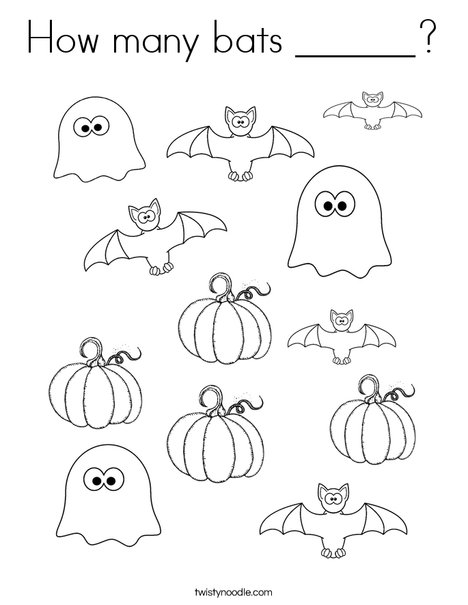 How Many Halloween Bats Coloring Page