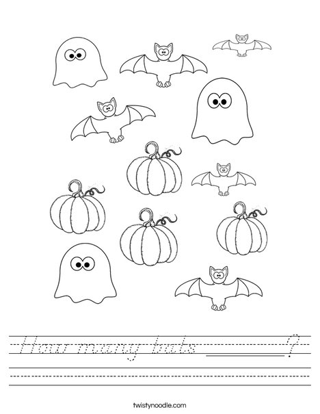 How Many Halloween Bats Worksheet