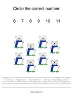 How many happy groundhogs Handwriting Sheet