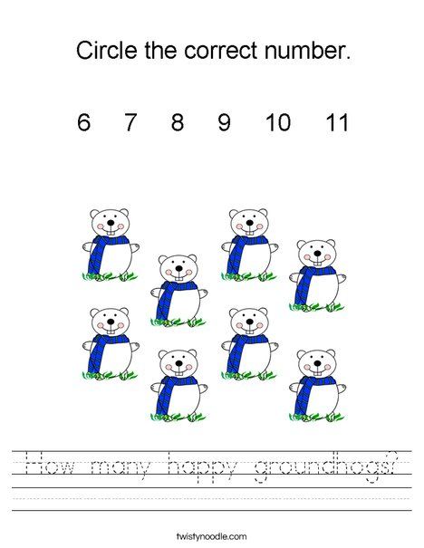 How many happy groundhogs? Worksheet