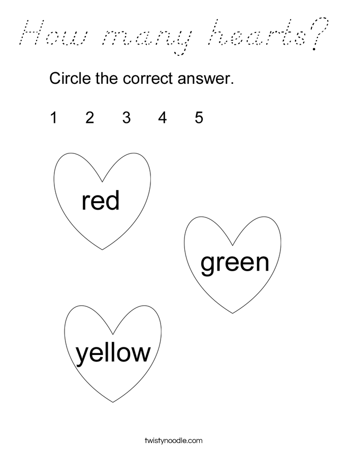 How many hearts? Coloring Page