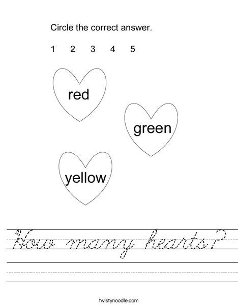 How many hearts? Worksheet
