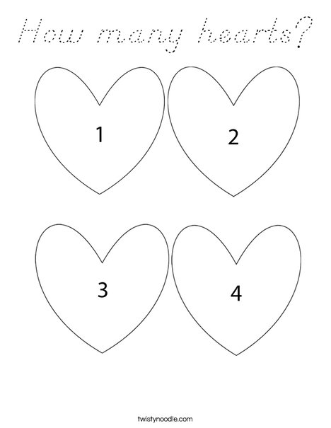 How many hearts Coloring Page