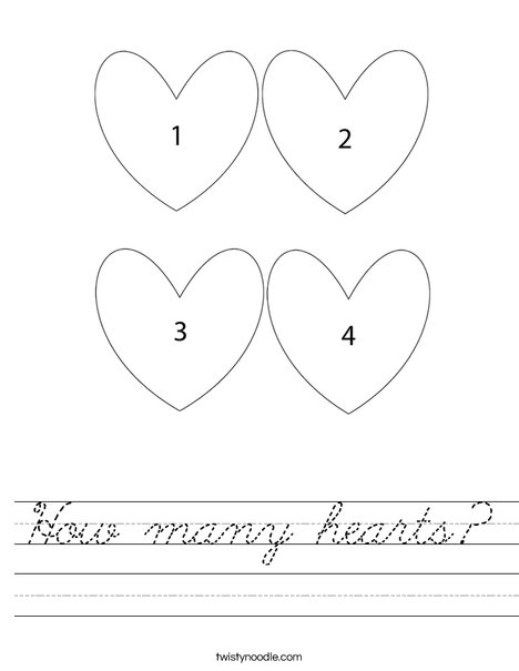 How many hearts Worksheet