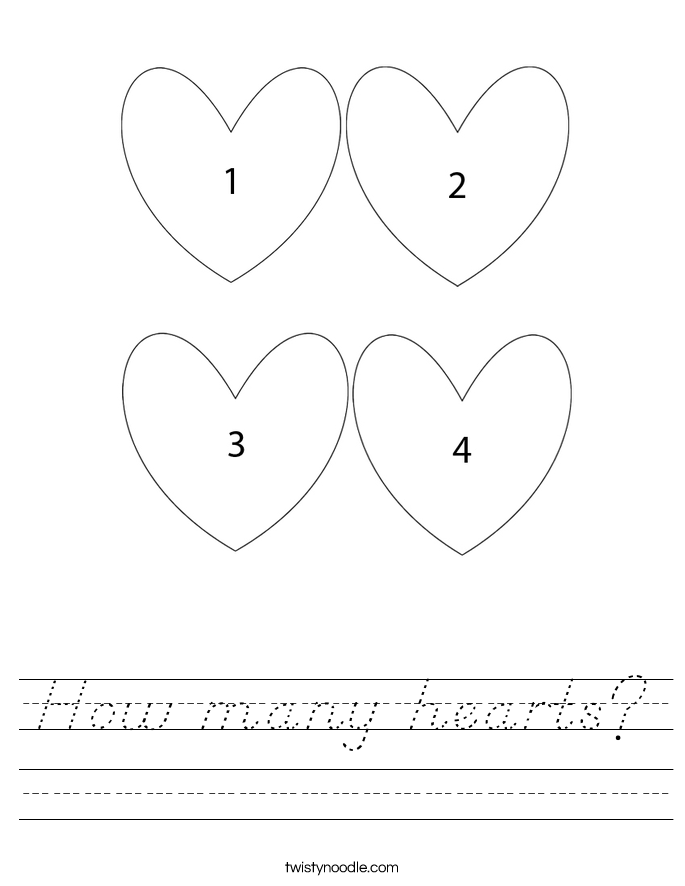 How many hearts? Worksheet