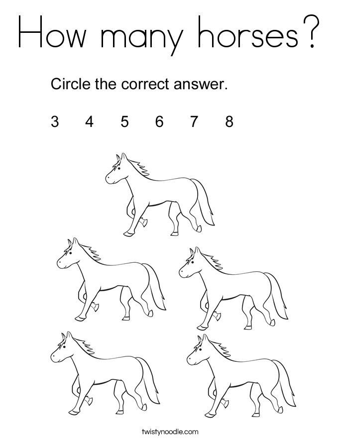 How many horses? Coloring Page