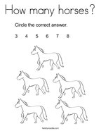 How many horses Coloring Page