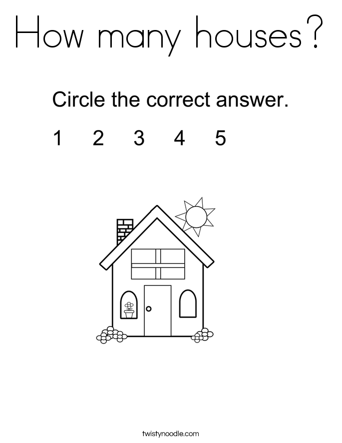 How many houses? Coloring Page