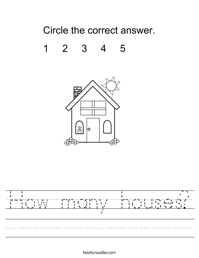 How many houses? Worksheet