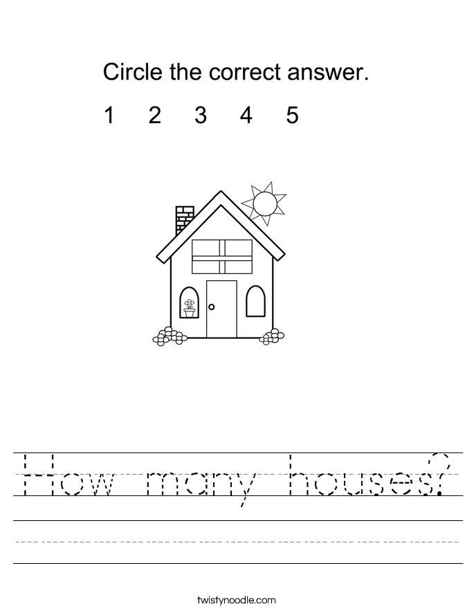 How many houses? Worksheet