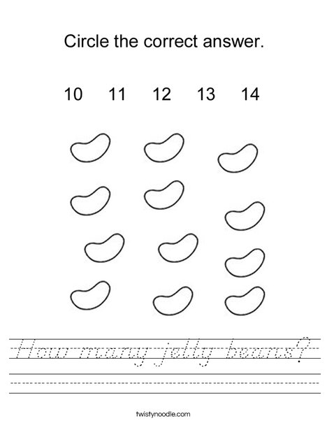 How many jelly beans? Worksheet