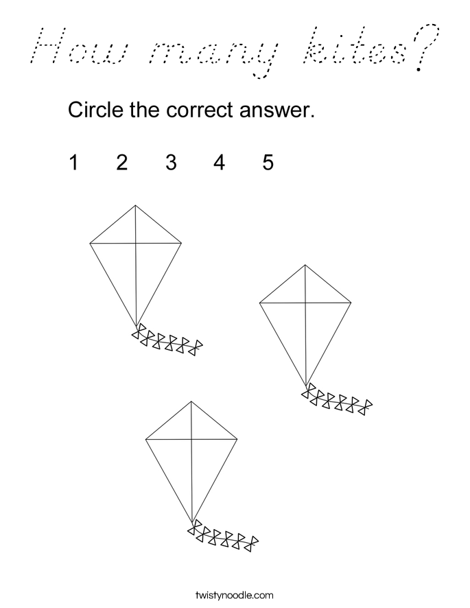 How many kites? Coloring Page