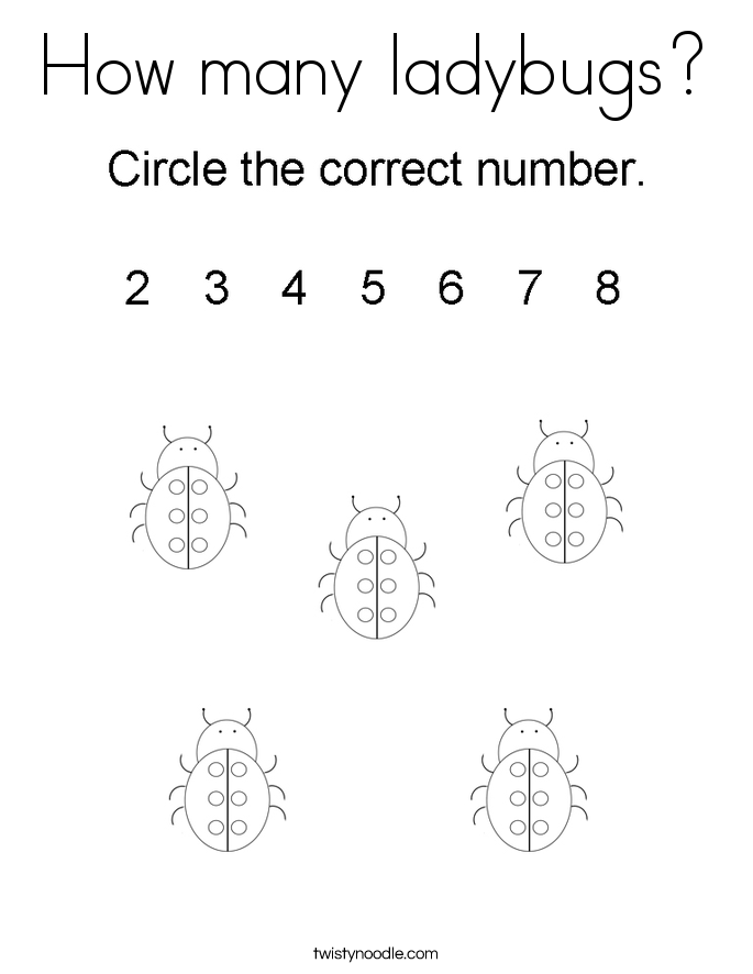 How many ladybugs? Coloring Page