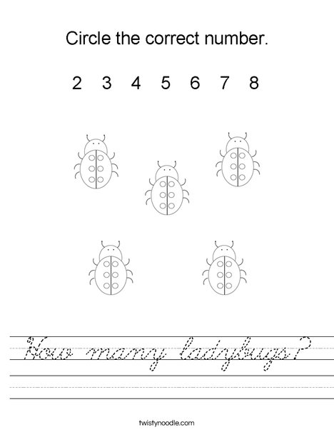 How many ladybugs? Worksheet