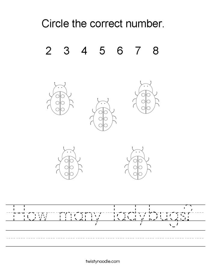 How many ladybugs? Worksheet