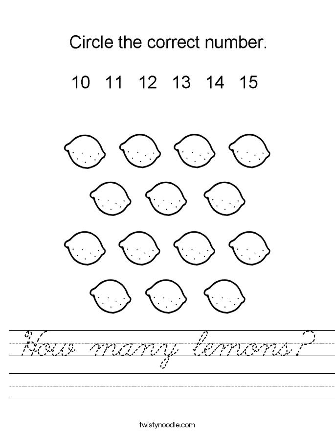 How many lemons? Worksheet