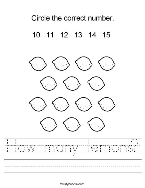 How many lemons? Worksheet