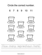 How many leprechaun hats Handwriting Sheet