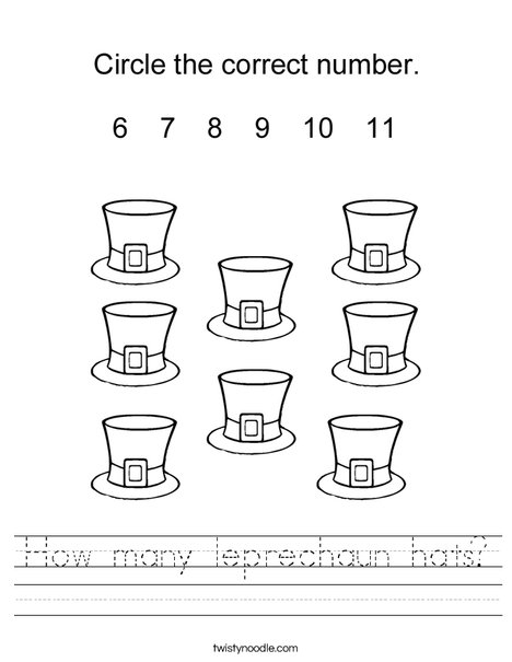 How many Leprechaun Hats? Worksheet
