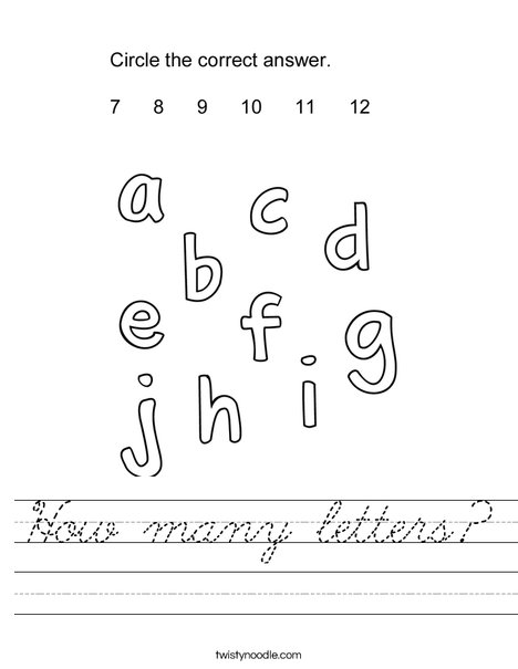 How many letters? Worksheet