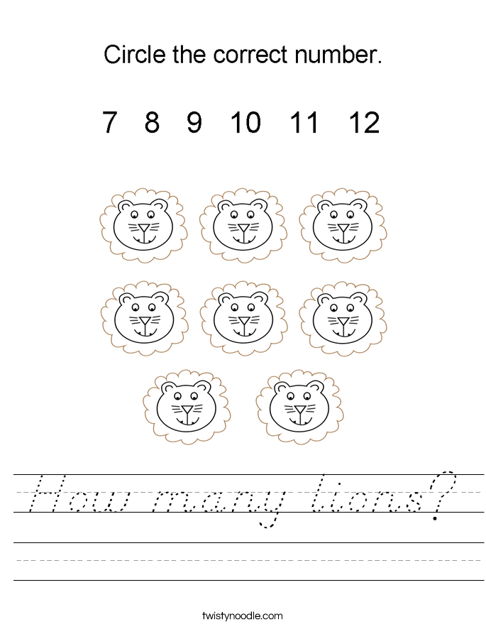 How many lions? Worksheet