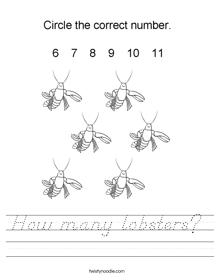 How many lobsters? Worksheet