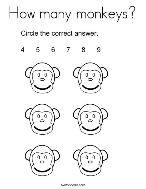 How many monkeys? Coloring Page
