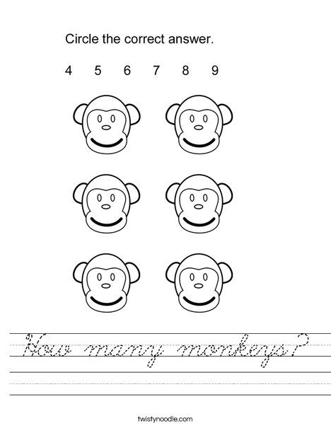 How many monkeys? Worksheet