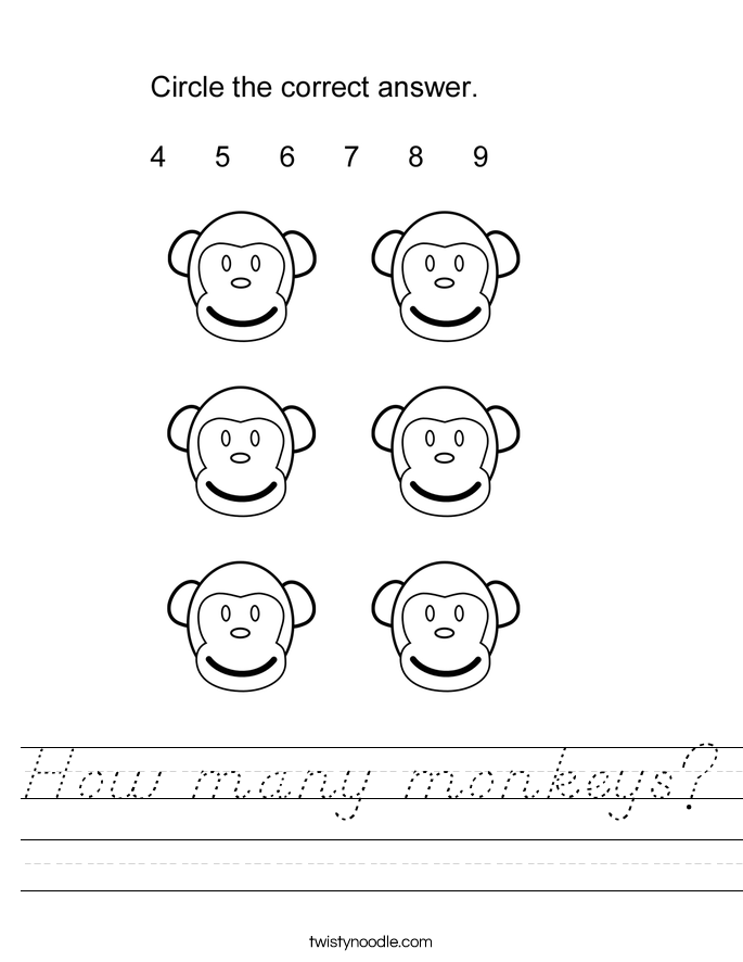 How many monkeys? Worksheet