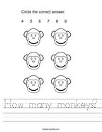 How many monkeys Handwriting Sheet