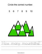 How many mountains Handwriting Sheet