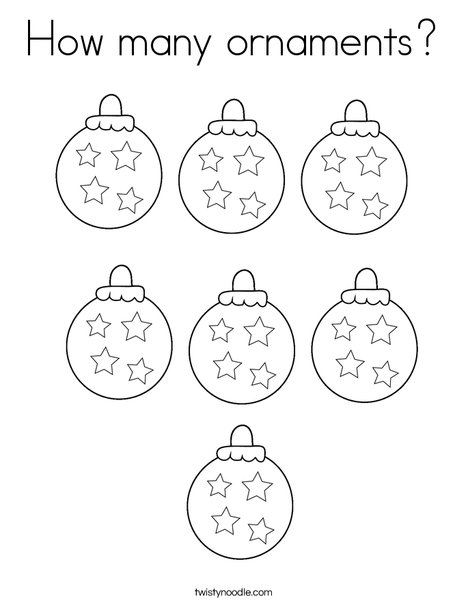 How many ornaments? Coloring Page
