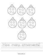 How many ornaments Handwriting Sheet