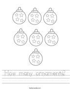 How many ornaments Handwriting Sheet