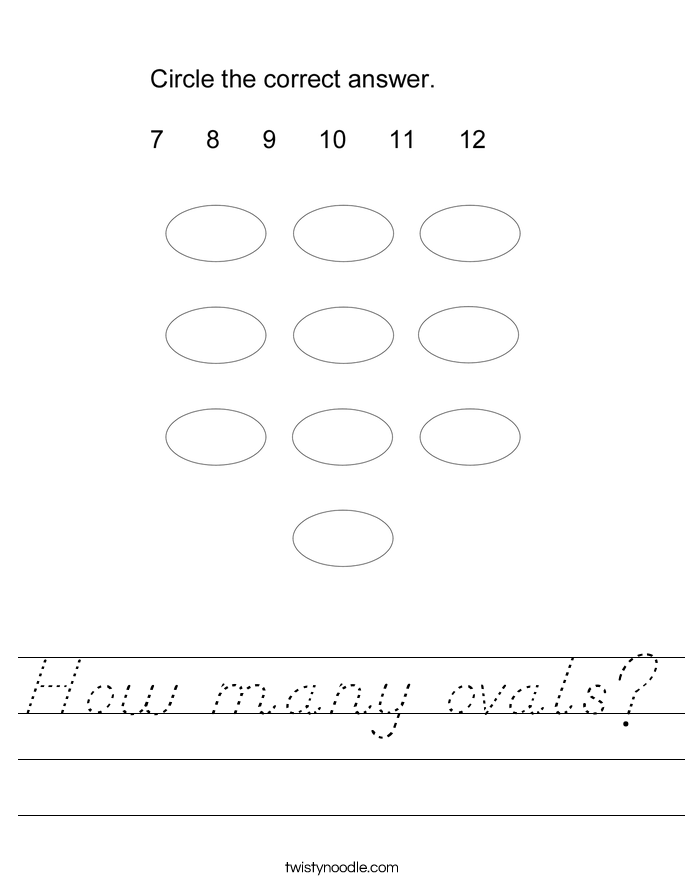 How many ovals? Worksheet