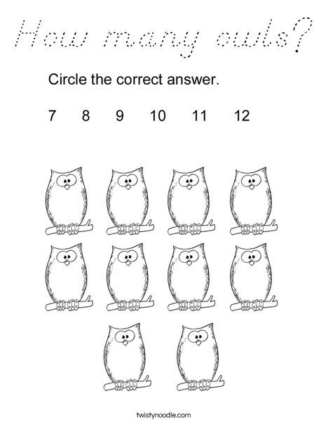 How many owls? Coloring Page