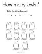 How many owls Coloring Page