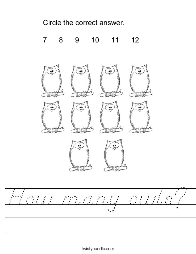 How many owls? Worksheet