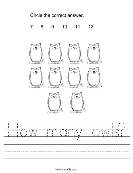 How many owls? Worksheet
