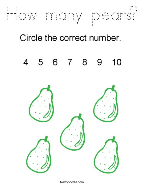 How many pears? Coloring Page