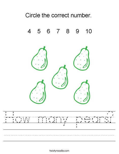 How many pears? Worksheet