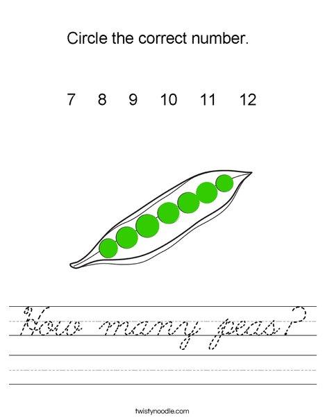 How many peas? Worksheet