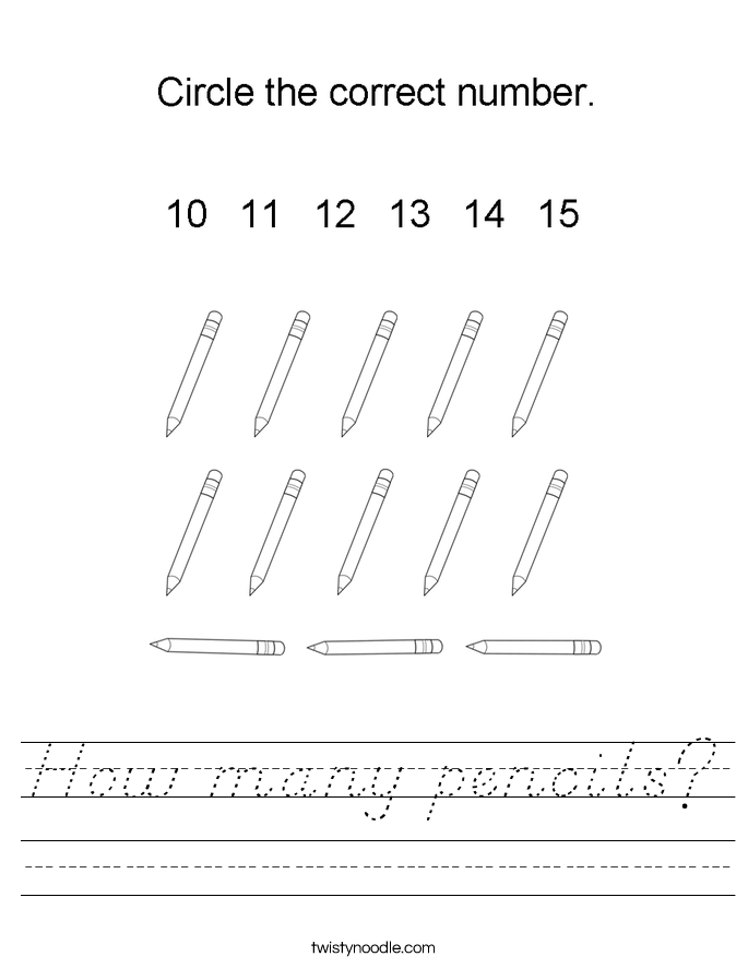 How many pencils? Worksheet
