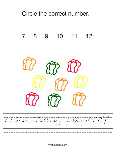 How many peppers? Worksheet