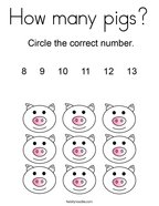 How many pigs Coloring Page