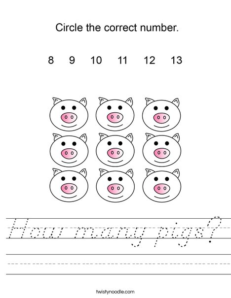 How many pigs? Worksheet
