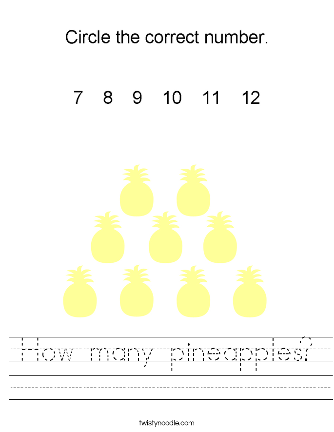 How many pineapples? Worksheet